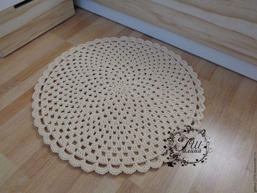 """Текстиль, ковры ручной работы. Ярмарка Мастеров - ручная работа. Купить Вязаный коврик """"Радость L"""". Handmade. Белый, полиэфир"""