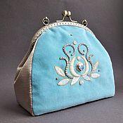 Сумки и аксессуары handmade. Livemaster - original item Handbag evening DELICATE BLUE velvet, beads, GIMP, sequins. Handmade.
