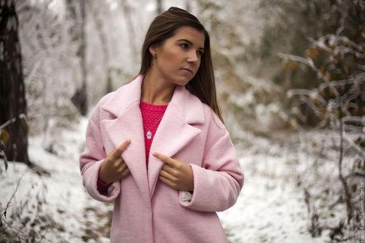 Верхняя одежда ручной работы. Ярмарка Мастеров - ручная работа. Купить Пальто кокон. Handmade. Бледно-розовый, пальто