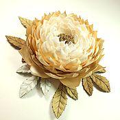 handmade. Livemaster - original item Windy Astra. Brooch - flower is made of fabric and genuine leather. Handmade.