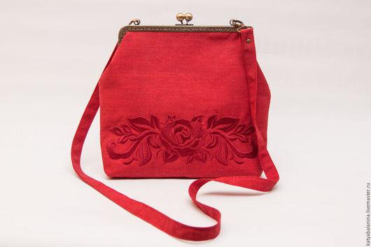 Женские сумки ручной работы. Ярмарка Мастеров - ручная работа. Купить Сумочка на фермуаре с длинной ручкой Дамаск красная. Handmade.