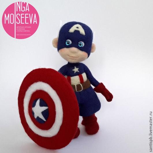 Человечки ручной работы. Ярмарка Мастеров - ручная работа. Купить Капитан Америка, войлочная кукла. Handmade. Разноцветный, капитан америка