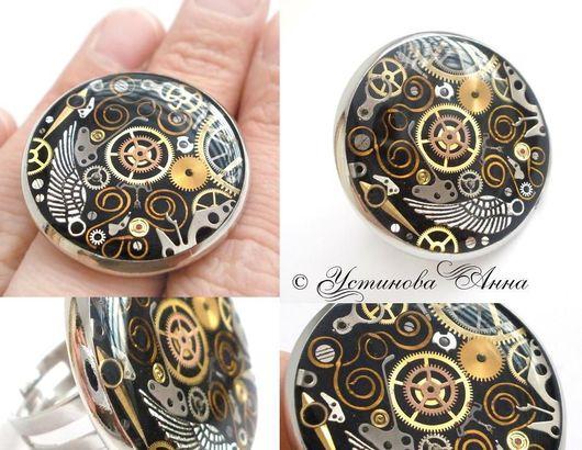 Стимпанк ручной работы. Ярмарка Мастеров - ручная работа. Купить Стимпанк кольцо, перстень, кольцо в стиле стимпанк, часы/ Steampunk. Handmade.