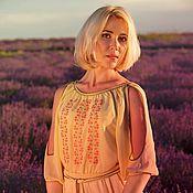 Одежда ручной работы. Ярмарка Мастеров - ручная работа платье вечернее летнее с вышивкой. Handmade.