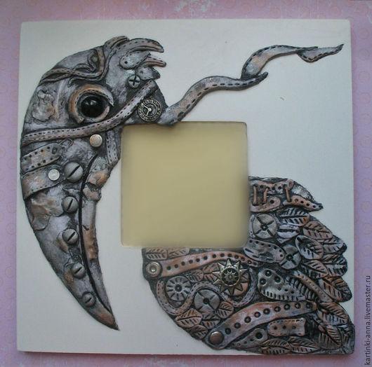Зеркала ручной работы. Ярмарка Мастеров - ручная работа. Купить Панно зеркало Мудрая Птица (стимпанк, ворон). Handmade. Серебряный
