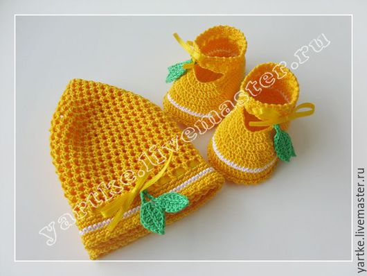 """Для новорожденных, ручной работы. Ярмарка Мастеров - ручная работа. Купить Комплект """"Цитрус"""". Handmade. Желтый, комплект для девочки, пинетки"""