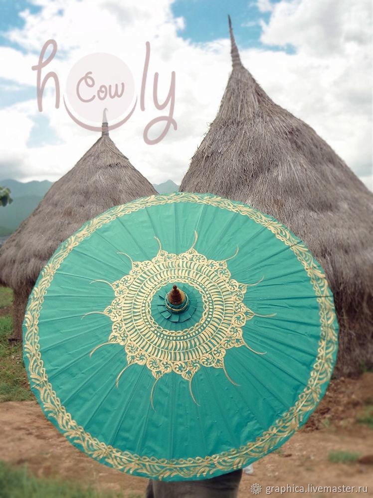 """Расписной традиционный зонт """"Turquoise Magic"""", Зонты, Лиссабон,  Фото №1"""