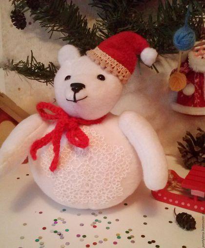 Мишки Тедди ручной работы. Мишка тедди Снеговик Подарок на Новый год!. У тётушки Лены (auntyLena). Ярмарка Мастеров.
