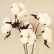 Цветы и флористика handmade. Livemaster - original item Sprig of the cotton Soft clouds. Leather flowers. Handmade.