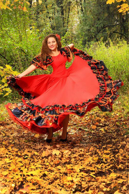 Танцевальные костюмы ручной работы. Ярмарка Мастеров - ручная работа. Купить Цыганочка 1312. Handmade. Ярко-красный, цыганская юбка
