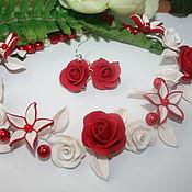 Украшения ручной работы. Ярмарка Мастеров - ручная работа красные розы. Handmade.