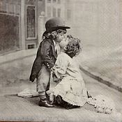 Салфетки для декупажа ручной работы. Ярмарка Мастеров - ручная работа Салфетка для декупажа 33х33 Поцелуй дети. Handmade.