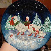 Посуда ручной работы. Ярмарка Мастеров - ручная работа тарелка Рождественские гусики. Handmade.