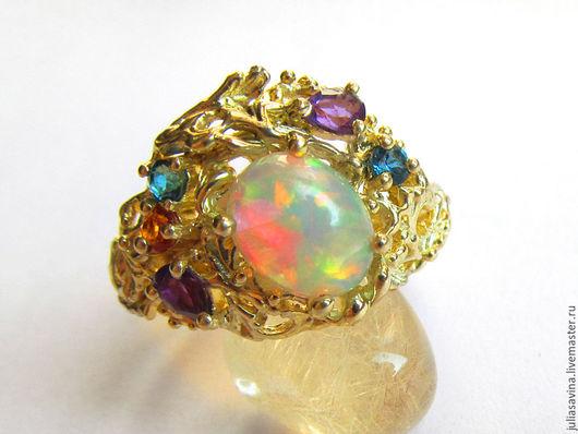 Кольца ручной работы. Ярмарка Мастеров - ручная работа. Купить Золотое кольцо с опалом. Handmade. Лимонный, кольцо на заказ