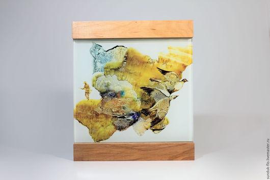 """Пейзаж ручной работы. Ярмарка Мастеров - ручная работа. Купить Стеклянная картина """"Летят утки"""". Handmade. Рыжий, картина из стекла"""