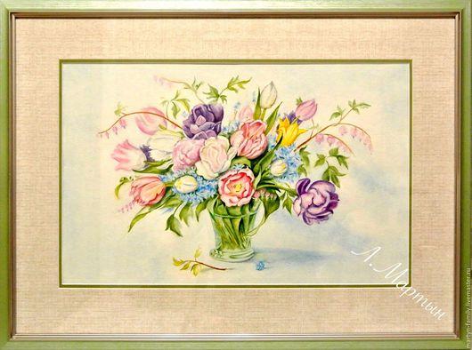 Картины цветов ручной работы. Ярмарка Мастеров - ручная работа. Купить Тюльпаны. Handmade. Комбинированный, акварельная картина, акварельный рисунок