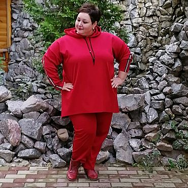 Одежда ручной работы. Ярмарка Мастеров - ручная работа Костюм красный из джерси в спортивном стиле. Handmade.