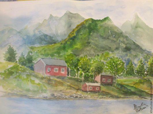 """Пейзаж ручной работы. Ярмарка Мастеров - ручная работа. Купить картина """"Дом у воды"""". Handmade. Зеленый, пейзаж, акварельная картина"""