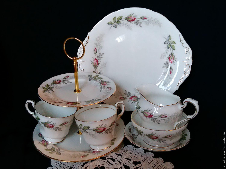 Винтажная посуда. Ярмарка Мастеров - ручная работа. Купить Винтаж: Набор для чая СВАДЕБНАЯ РОЗА  Англия 16 предметов. Handmade.