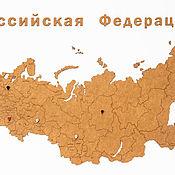 Для дома и интерьера handmade. Livemaster - original item Map of Russia brown 98h53 cm. Handmade.