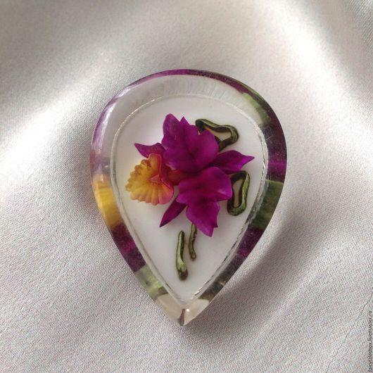 Винтажные украшения. Ярмарка Мастеров - ручная работа. Купить Брошь орхидея в капле, винтаж. Handmade. Брошь, цветок в смоле