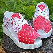 Обувь ручной работы. Ярмарка Мастеров - ручная работа летние кеды на платформе. Handmade.