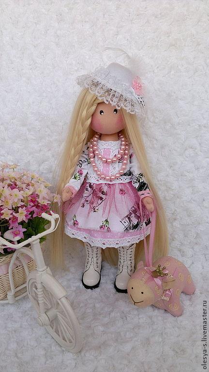 Коллекционные куклы ручной работы. Ярмарка Мастеров - ручная работа. Купить Textile doll Elena. Handmade. Бледно-розовый