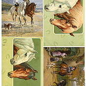 """Материалы для творчества ручной работы. Ярмарка Мастеров - ручная работа арт. 552 """"лошади"""", рисовая бумага для декупажа. Handmade."""
