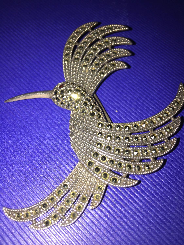 Винтаж: Огромная серебряная брошь/птица с глазом из граната, Броши винтажные, Вюрцбург,  Фото №1