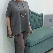 Одежда ручной работы. Ярмарка Мастеров - ручная работа Туника лен с шелком. Handmade.