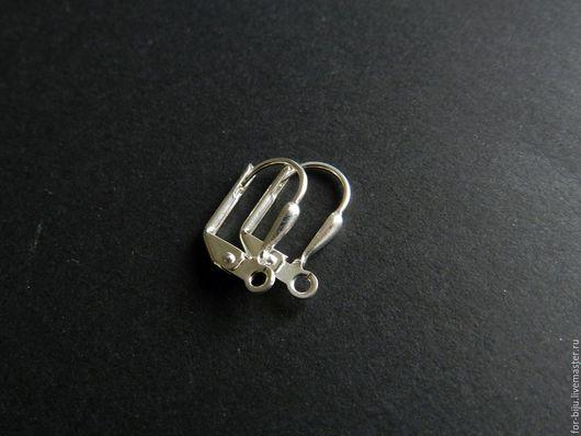 Швензы с замком, материал - посеребренная латунь, цвет светлое серебро, размер - 16 мм высота, пр-во США (арт. 1077)