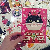"""Открытки ручной работы. Ярмарка Мастеров - ручная работа открытка почтовая """"кот и новый год"""". Handmade."""
