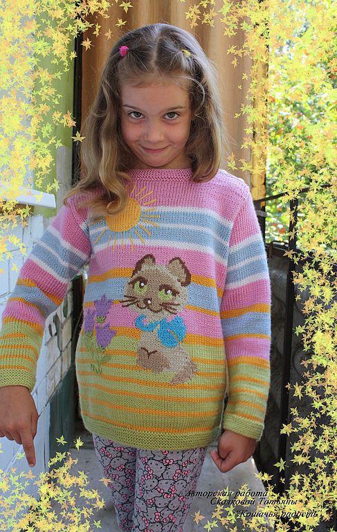 """Одежда для девочек, ручной работы. Ярмарка Мастеров - ручная работа. Купить Джемпер для девочки """"Кошачья радость"""". Handmade. Джемпер для девочки"""