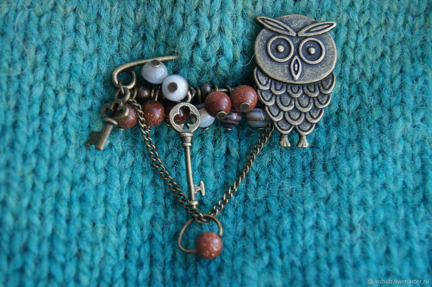 Owl pin brooch with agate and aventurine, Brooches, Moscow,  Фото №1