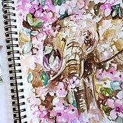 Картины и панно handmade. Livemaster - original item Flower elephant-painting on paper. Handmade.
