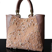 Сумки и аксессуары handmade. Livemaster - original item Leather bag, powdery, powdery bag, bag with embroidery, lace. Handmade.