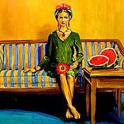 Картины и панно ручной работы. Ярмарка Мастеров - ручная работа картина маслом СОЧНЫЙ АРБУЗ. Handmade.
