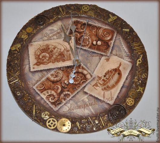 """Часы для дома ручной работы. Ярмарка Мастеров - ручная работа. Купить Часы """"Steampunk clock"""". Handmade. Коричневый, Авторский дизайн"""