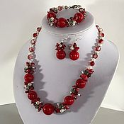 Украшения handmade. Livemaster - original item Jewelry set of red coral necklace, bracelet, earrings. Handmade.