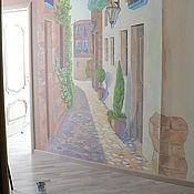 Картины и панно ручной работы. Ярмарка Мастеров - ручная работа Роспись улица в перспективе. Handmade.