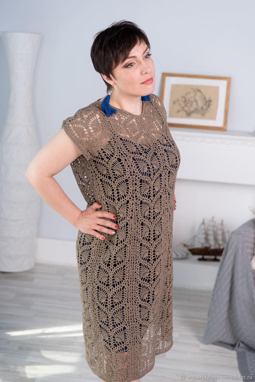 071bcb4324e888d Хлопковое ажурное платье-футляр связанное крючком из пряжи благородного  цвета темный беж.