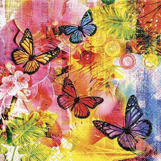 Декупаж и роспись ручной работы. Ярмарка Мастеров - ручная работа. Купить Мир красок (21673) - салфетка для декупажа. Handmade. Разноцветный