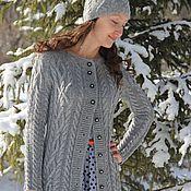 Одежда handmade. Livemaster - original item Knitting Cardigan Aran Cable Gray Tweed Long Sleeve Cardigan. Handmade.