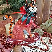 Сувениры и подарки handmade. Livemaster - original item The year of the tiger: Tiger, symbol of the year. Tiger figurines on wheels and on skids.. Handmade.