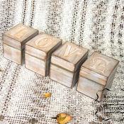 """Для дома и интерьера ручной работы. Ярмарка Мастеров - ручная работа Комплект деревянных шкатулок """"LOVE"""" в стиле прованс (винтаж)для декора. Handmade."""