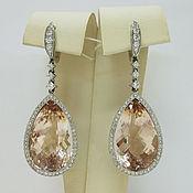Украшения handmade. Livemaster - original item Earrings with natural morganites and diamonds, white gold 585. Handmade.