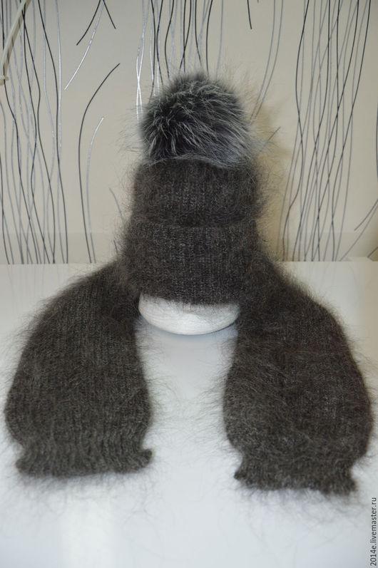 Шапки и шарфы ручной работы. Ярмарка Мастеров - ручная работа. Купить Комплект детский пуховый Шапка + шарфик. Handmade.
