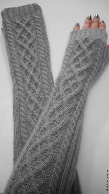 Митенки рукава 101, серые, Варежки митенки перчатки, Камышин, Фото №1