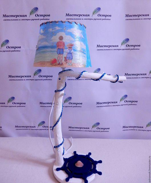 """Освещение ручной работы. Ярмарка Мастеров - ручная работа. Купить лампа в детскую """"Морская"""". Handmade. Комбинированный, морская детская, пляж"""