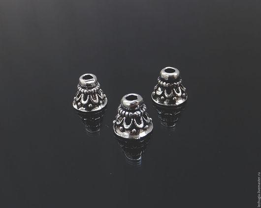 """Для украшений ручной работы. Ярмарка Мастеров - ручная работа. Купить Шапочка """"Купол"""" из серебра /6х6 мм/. Handmade."""